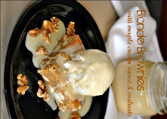 The first recipe I tried was not very similar to Applebees but this one was! Especially with Schwann's Maple Nut ice cream on top as well! Blonde brownies with maple cream sauce and walnuts @www.you-made-that.com    looks & sounds like Applebees blondie!