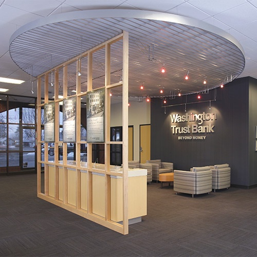 A great example of a successful re-branding remodel of the Washington Trust  Bank at. Bank Interior DesignBank ...