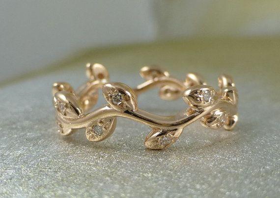 Leaf wedding band. Natural organic ring. 14k pink gold. Diamond ring. Engagement ring.