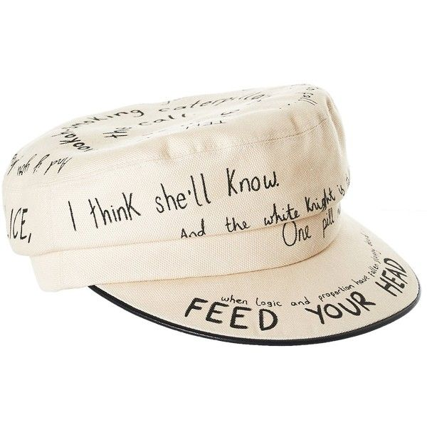 STEPHEN JONES 'Sketch' Engineer's Hat (5.028.610 IDR) ❤ liked on Polyvore featuring accessories, hats, stephen jones hats, woven hat, curved brim hats, white hat and white flat hat