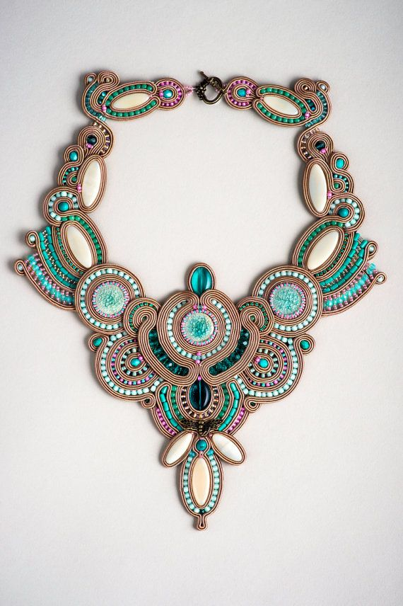 Jade Dragonfly - fancy soutache competition necklace in taupe and lucid green…