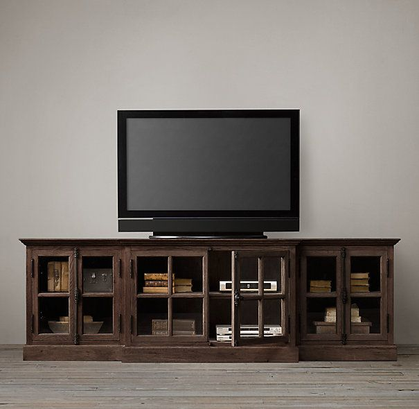 Family Room Media French Casement Media Console Glass