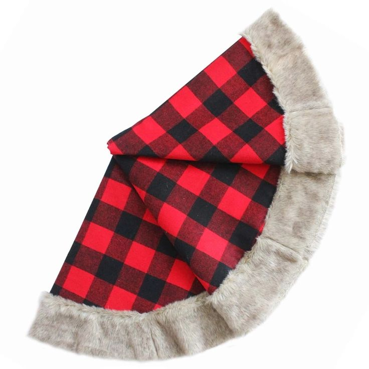 Free Shipping Extra Large 36 50 Christmas Tree Skirt Plaid With Faux Fur