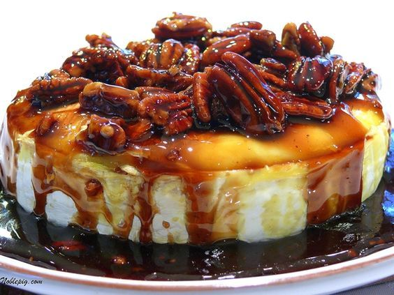 Wowzers...YOU will be A STAR for taking this gorgeous EASY treat to a friend;s or a get-together....Kahlua-Pecan-Brown Sugar Baked Brie | Noble Pig