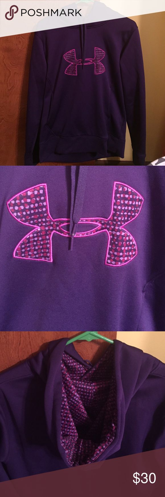 Under armour hoodie Purple women's under armour hoodie. Polka dot print in logo and hood. Women's size medium. Great used condition ☺️ Under Armour Tops Sweatshirts & Hoodies