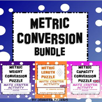 Metric Measurement Conversion Bundle includes the metric capacity conversion puzzle, metric length conversion puzzle and the metric weight conversion puzzle.  Grams and kilograms, meters, kilometers, millimeters, centimeters, liters and milliliters conversions between metric units of measurement, some decimal use required.