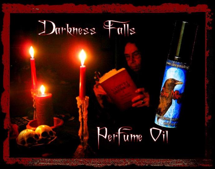DARKNESS FALLS Perfume Oil:  Gothic Perfume, Vampire Perfume, Halloween Perfume, Agarwood, Dark Incense, Sweet Amber, Romany Tea, Spices. $14.00, via Etsy.