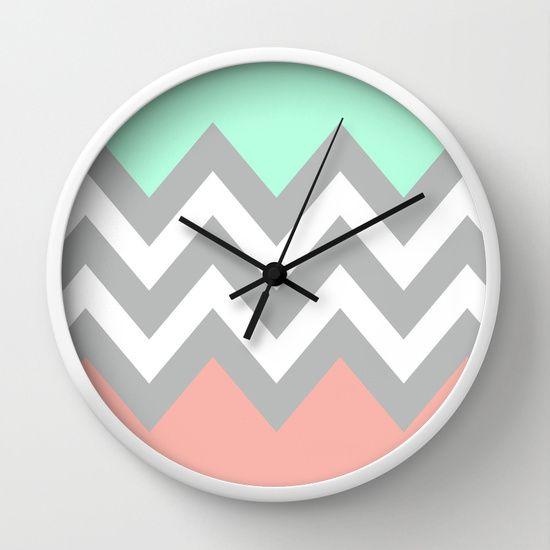 DOUBLE COLORBLOCK CHEVRON {MINT/CORAL/GRAY} Wall Clock