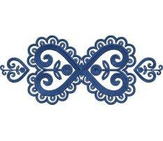 Výšivka Detva 4, 24x10 cm, modrá