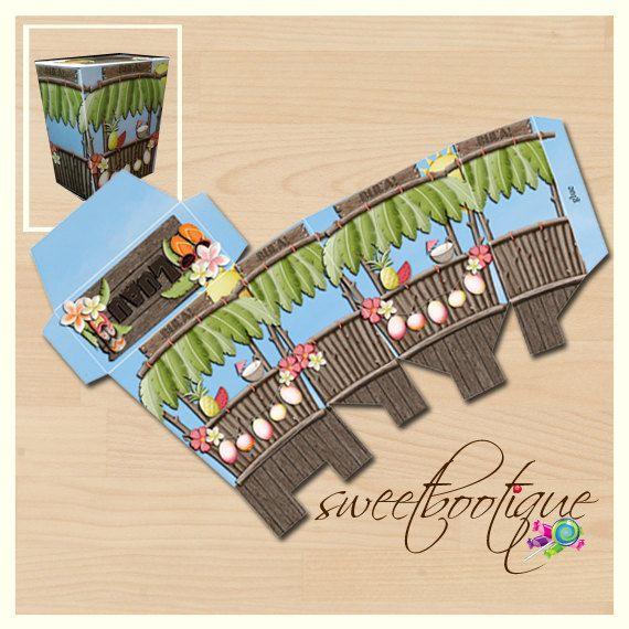 Luau, Beach, Hawaiian - Birthday Party or Wedding Treat Box - Printable - DIY - Digital File