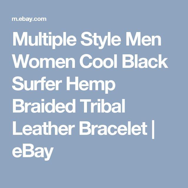 Multiple Style Men Women Cool Black Surfer Hemp Braided Tribal Leather Bracelet  | eBay