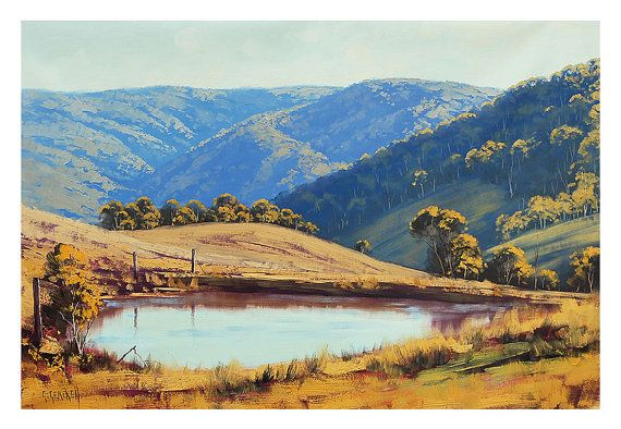 LARGE LANDSCAPE PAINTING Blue Mountains Painting Traditional Landscape Oil Painting Graham Gercken