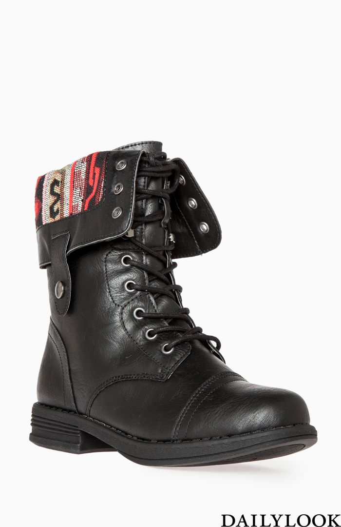 Dailylook Tribal Lined Combat Boots//