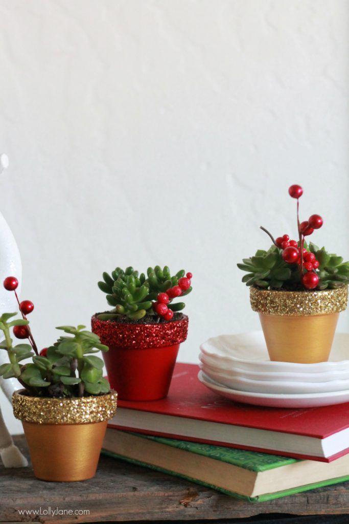 Christmas Succulent Planters.Handmade Christmas Gift Glitter Succulent Planters