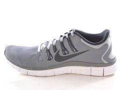 Nike Free 5.0+ Run Men's Wolf Gray/White/Black Running Shoes - See