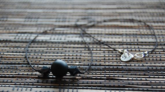 Black silk cord necklace with sterling silver by AasJewelry