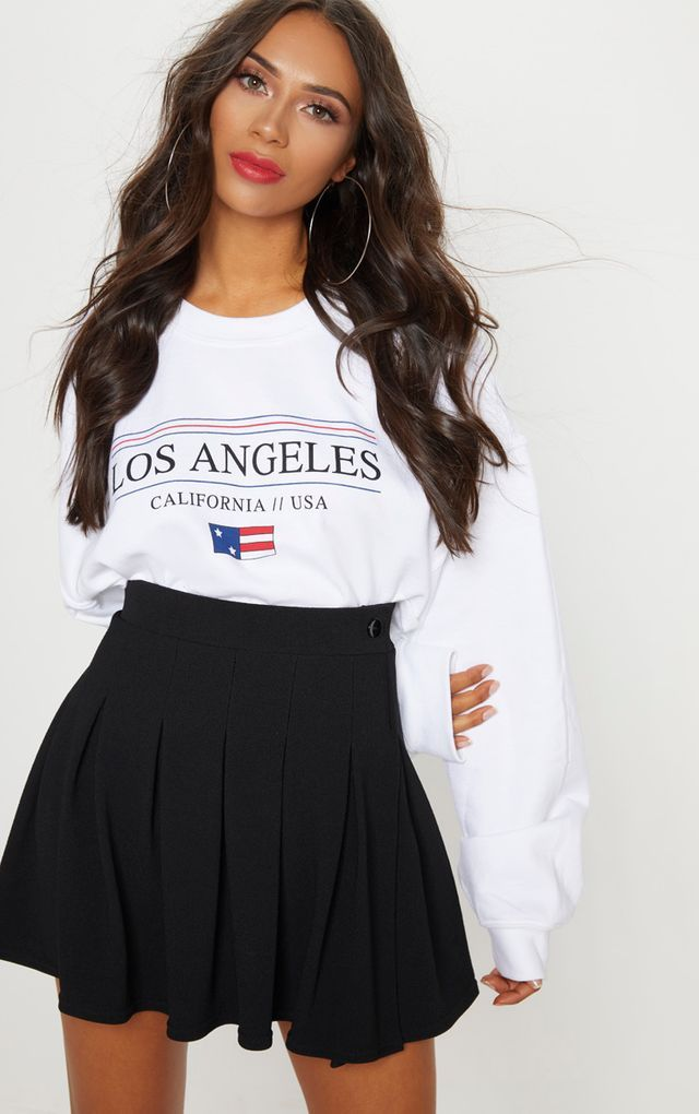733400275 Black Pleated Tennis Skirt   prettylittlething in 2019   Pleated ...