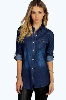 Jenna Slim Fit Roll Sleeve Western Denim Shirt - Shop for women's Shirt - dark blue Shirt