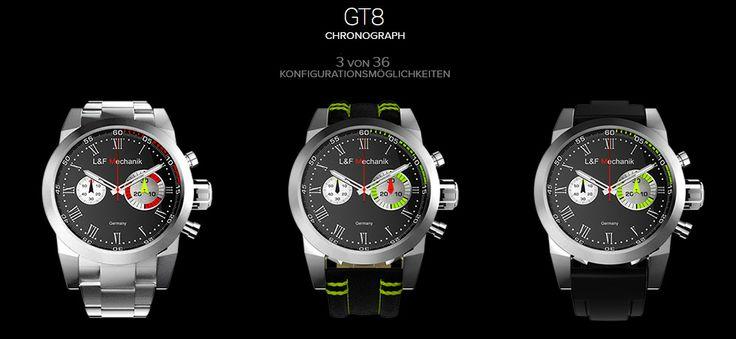 Unsere GT8 in 3 von 36 Konfigurationsmöglichkeiten, welche findet Ihr am besten? Links, Mitte oder Rechts? Oder würdet Ihr eine ganz andere konfigurieren? http://www.lf-mechanik.de/Uhrenkonfigurator/Uhr-GT8 #LFMechanik #GT8
