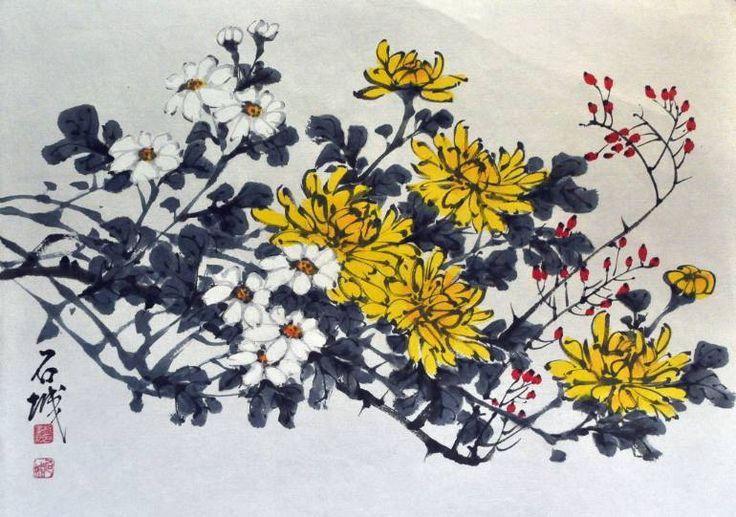 Korean Water Color painting Chrysanthemum Flower Signed