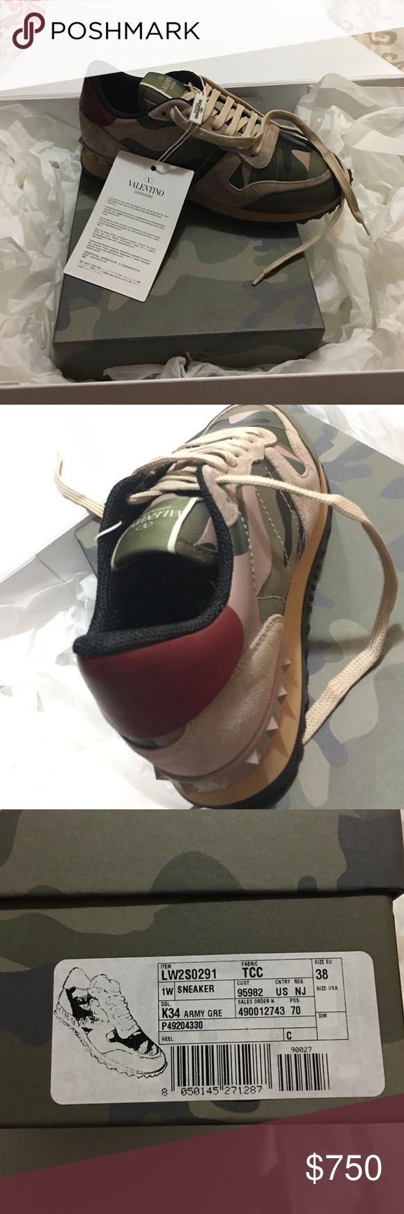 Valentino Military sneakers. Size 8 (38 eu) 100% Authentic. Never worn. Original packaging. Size 8 / 38 Eu. Camouflage Valentino. Pricing negotiable or Trade. Valentino Garavani Shoes Sneakers