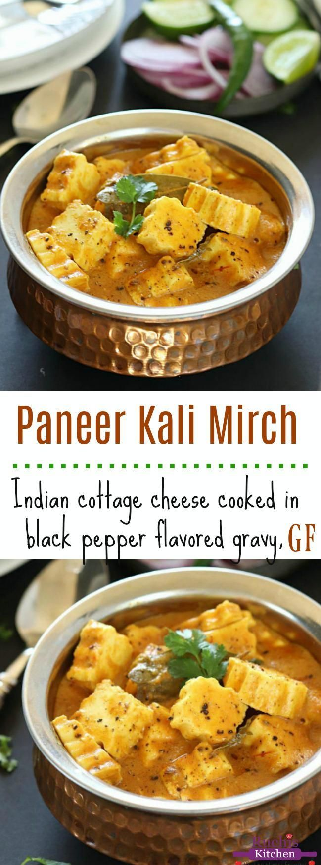 Paneer Kali Mirch is a spicy yet delicious gluten-free dish made with aromatic spices. Pair it with homemade warm rotis or white rice to create a yummy wholesome meal tonight! #paneer #blackpepperpaneer #glutenfreedishes #paneerrecipe #indianpaneer #paneermeal
