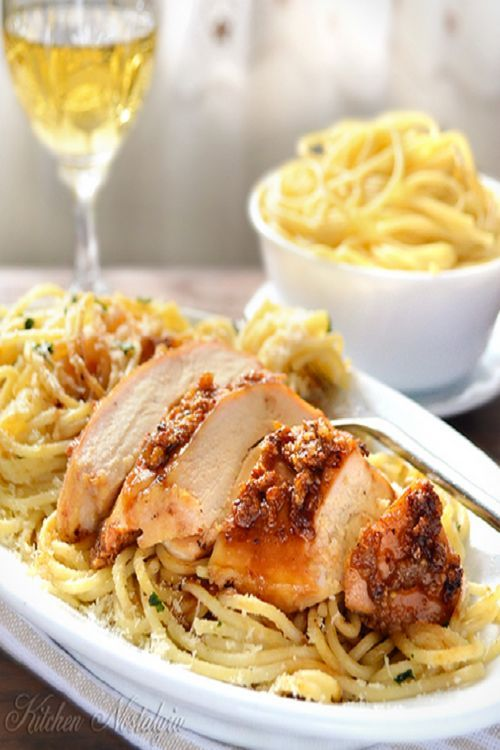 garlic crusted juicy chicken breast with spaghetti in butter sauce