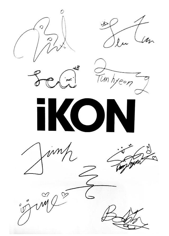 """noonakiller-hanbin: """" iKON members signatures :3 """""""