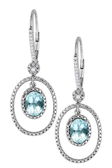 Sterling Silver Aquamarine & Diamond Orbiting Oval Drop Earrings