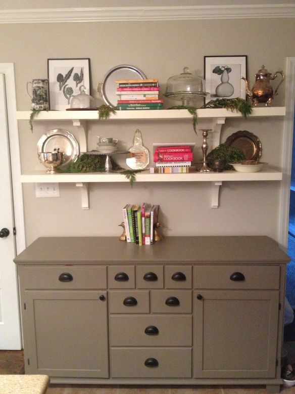 Buffet with styled shelves