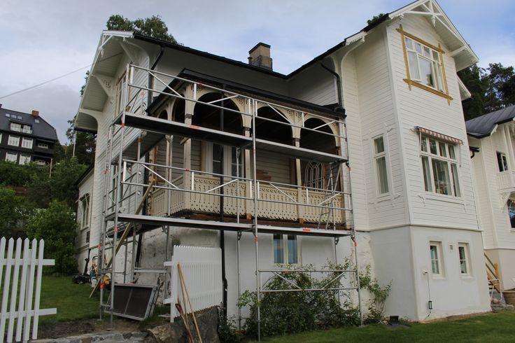 Solfeng Sommer 2017. Glassveranda demontert og under restaurering.