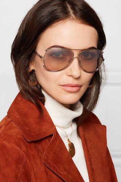 c78f21d6bf6a8 Chloé - Isidora Aviator-style Gold-tone Sunglasses