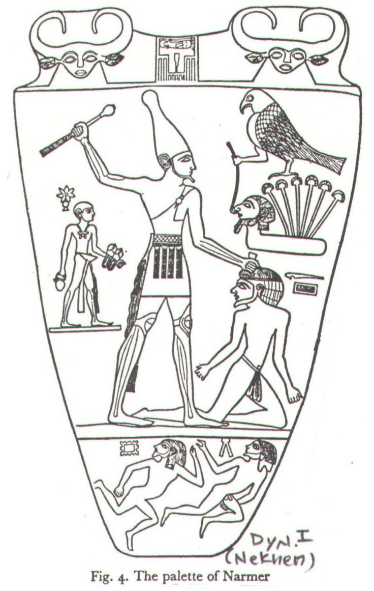 Diagram of the front of the Palette of Narmer