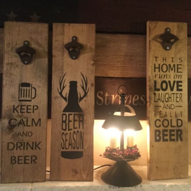 Beer Opener Signs | These signs measure roughly 6x18. They are stained and a sawtooth hanger is on the back for hanging. Recommended that the sign be screwed into wall for stability while opening bottle tops.