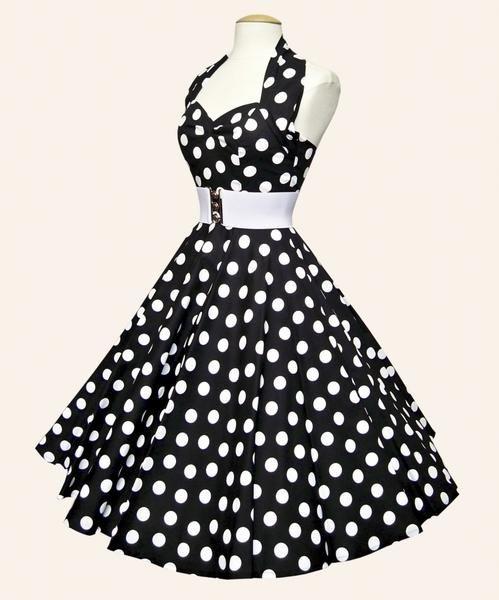 I found '1950s Halterneck Polka Dot Dress Black' on Wish, check it out!