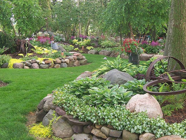 www.rocklandscapeinc.com Rock Landscape & Gardens, Wi. open by appointment. 1000's of hosta and perennials for sale at reasonable prices. woodland garden, lamium, fern, astible, grass path, trees, plants, retaining walls, rock walls