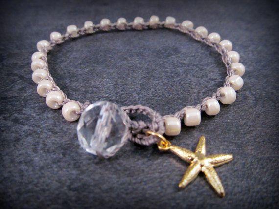 Gouden zeester armband sierlijke sieraden haak boho door GlowCreek