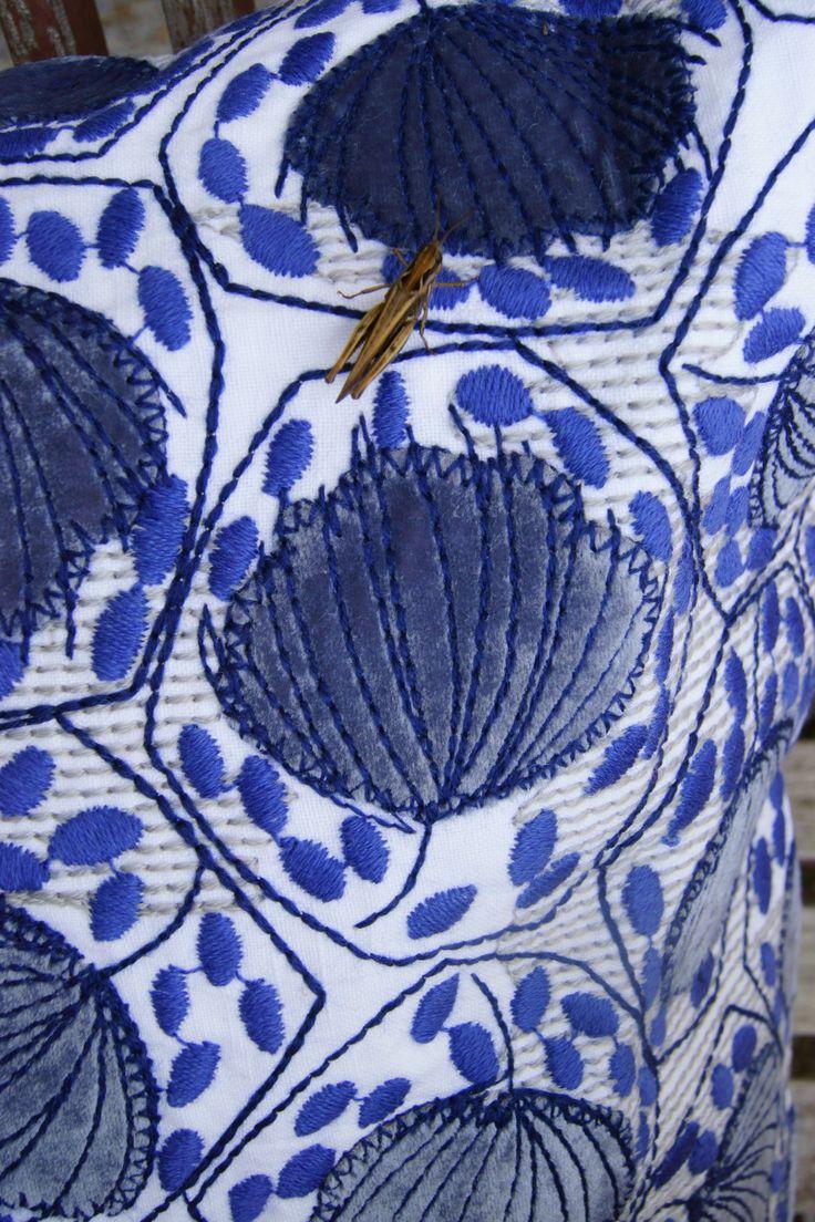 Adam&Viktoria S/S-14 Cloves bluegrey with grasshopper #embroidery #adam&viktoria #lisafontanarosa