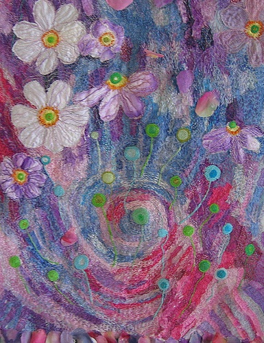 "Felted wool roving ""paintings"". petals by kayla coo, via Flickr"