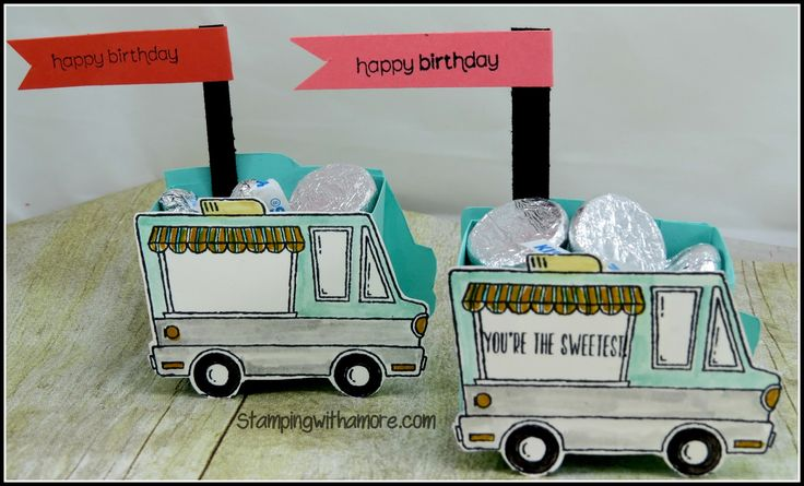 Tasty Trucks Treat Holder, Treat Holders, Bags and Boxes, Stampin'Up Stampin'Up Treat Holders, Stampin'Up Sal-a-bration, Paper Crfats, 3-d papercrafting projects, 3-d papercrafts,Box making, Party Favors, Birthday Party Favors, Handmade Party Favors,