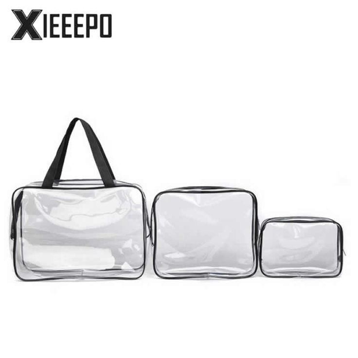 3pcs Transparent Clear Cosmetic Bags Waterproof PVC Makeup Bags Travel Organizer Beauty Case Toiletry Bag Bath Wash Make Up Box #Affiliate