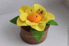 В предверии 8 марта хочется сделать что-то своими руками и порадовать этим своих близких. И сегодня я хочу поделиться с вами цветком-игольницей. Итак, нам понадобится: - маленькая баночка для основы; - фетр (светло-коричневый, коричневый, желтый, оранжевый, зелёный); - нитки; - наполнитель (у меня холлофайбер); - божья коровка (по желанию). Итак, приступим. Подготовим …