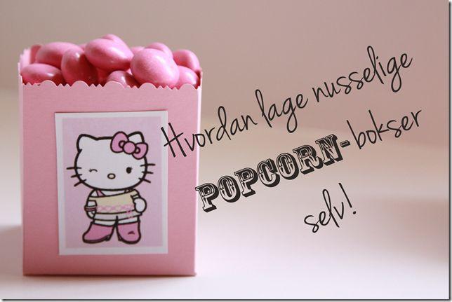 DIY popcorn box on the blog =) Hello Kitty popcornboks - hvordan lage nusselige popcornbokser selv!