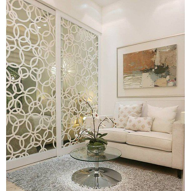 The pattern helps these mirrored walls appear more incognito but still reflects plenty of light. Source: Instagram user meilleurdesignerprod...