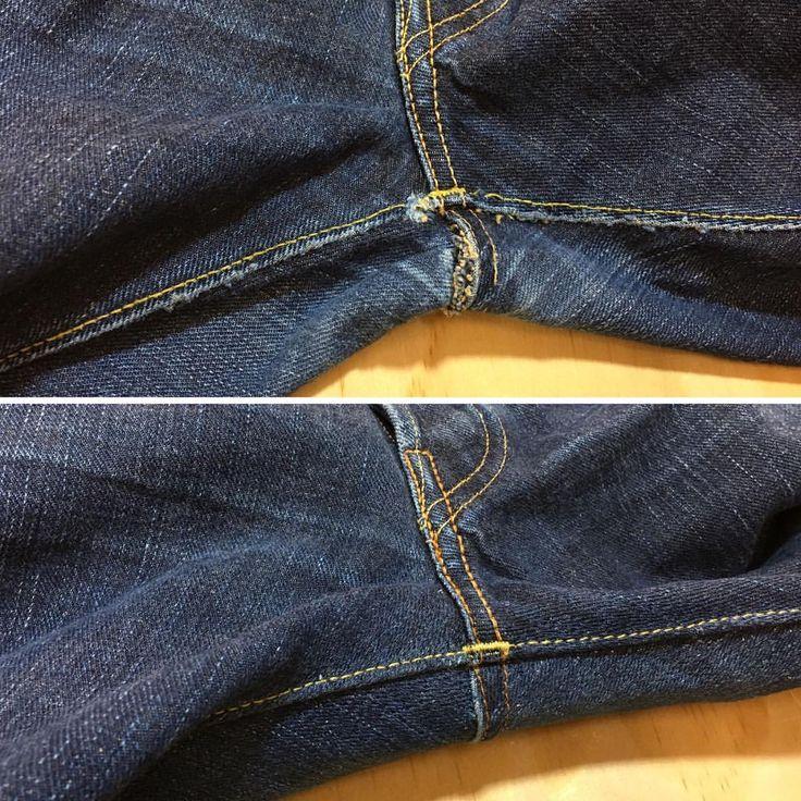 "indigoproof: ""Monday's crotch shot brought to you by @ooe_yofukuten 💙#indigoproof #denimrepair """