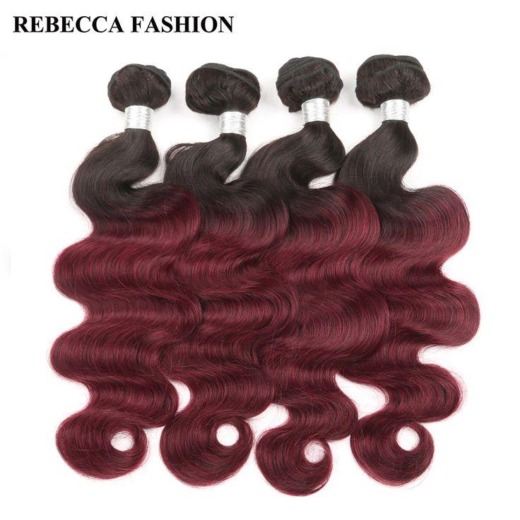 Rebecca Remy Brazilian Body Wave 4 Bundles Ombre Wine Red Hair Weave T1B 99J Human Hair Extensions Salon Longest Hair PP 20%