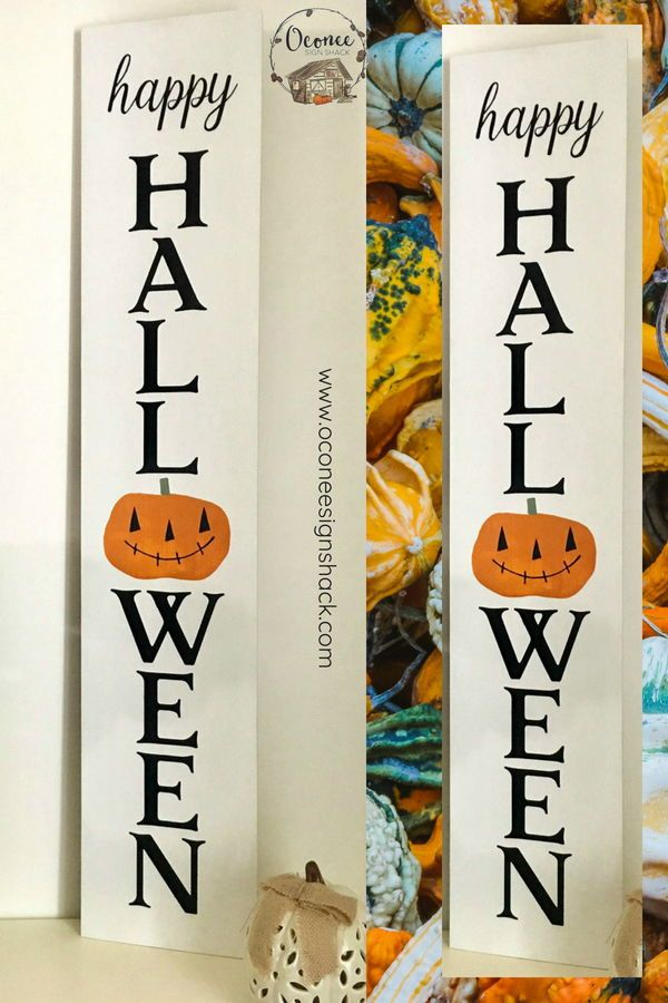 Personalised Halloween at the.. Sign with Large Pumpkin Bats Wooden Craft Gift