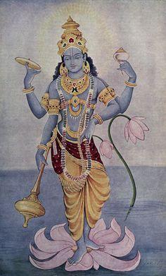 Image result for vintage print lord vishnu standing on lotus