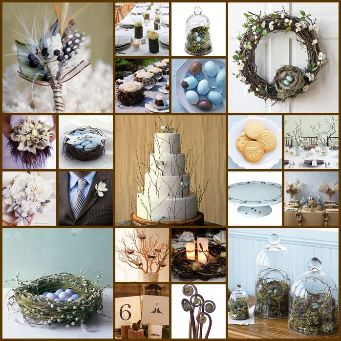 Bird/twig theme robin's egg blue and green... hello my big day.. soon one day! Love this!