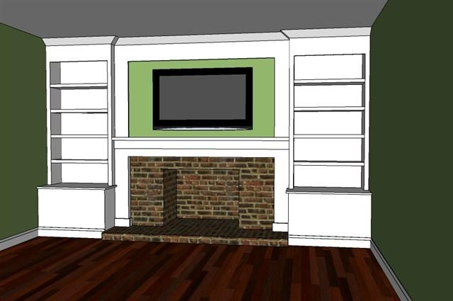 Built in bookshelves surrounding fireplace DIY. I've been wanting to turn my fireplace into this idea